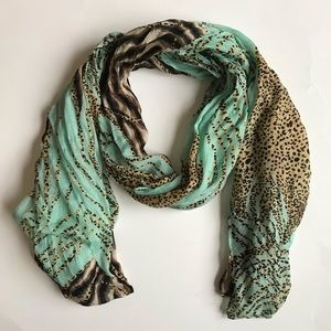 Teal Leopard Print Scarf 77x30 in very comfy